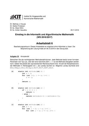 Arbeitsblatt 06 - Wintersemester - 2129906: Einstieg in die ...