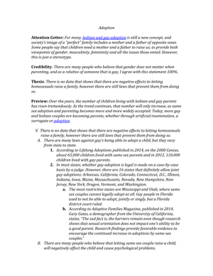 Pro gay adoption thesis argumentative essay about prostitution