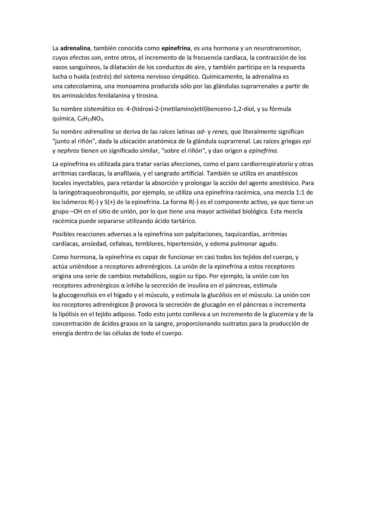 Química Orgánica Informe Adrenalina Uniovi Studocu