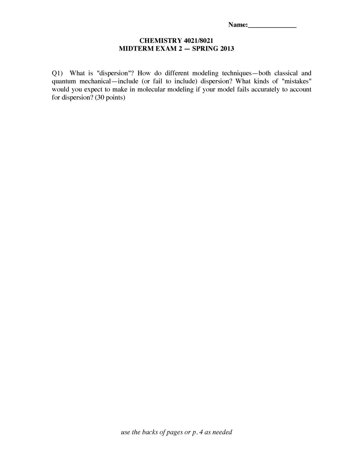 Exam 2013, questions - CHEM 4021 Computational Chemistry