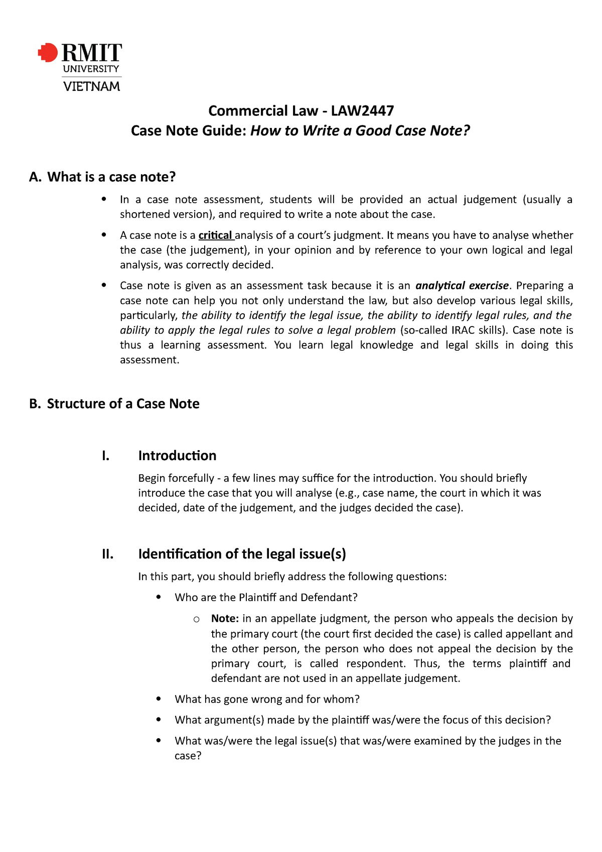 How to write a casenote law resume written in third person