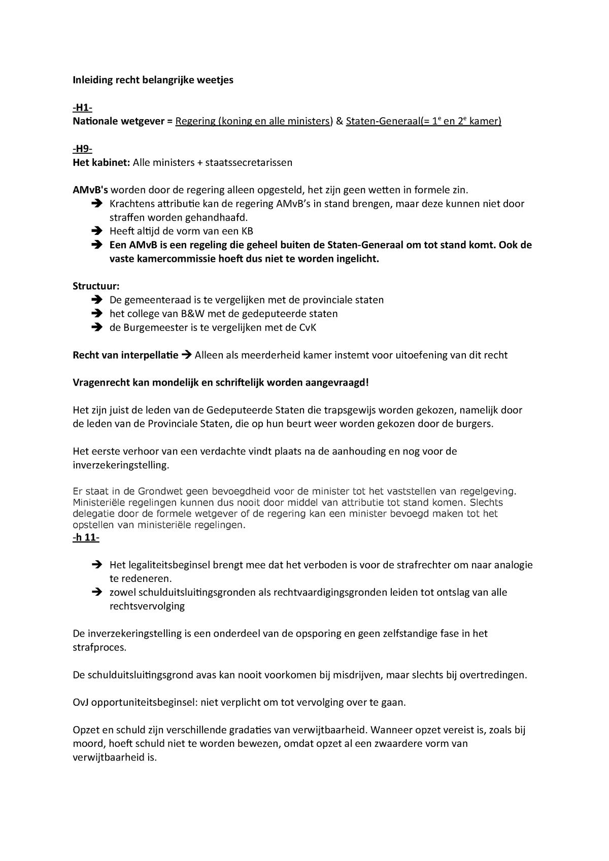 2f02f3be8b6 Belangrijke weetjes per hoofdstuk, Inleiding Recht - StudeerSnel.nl