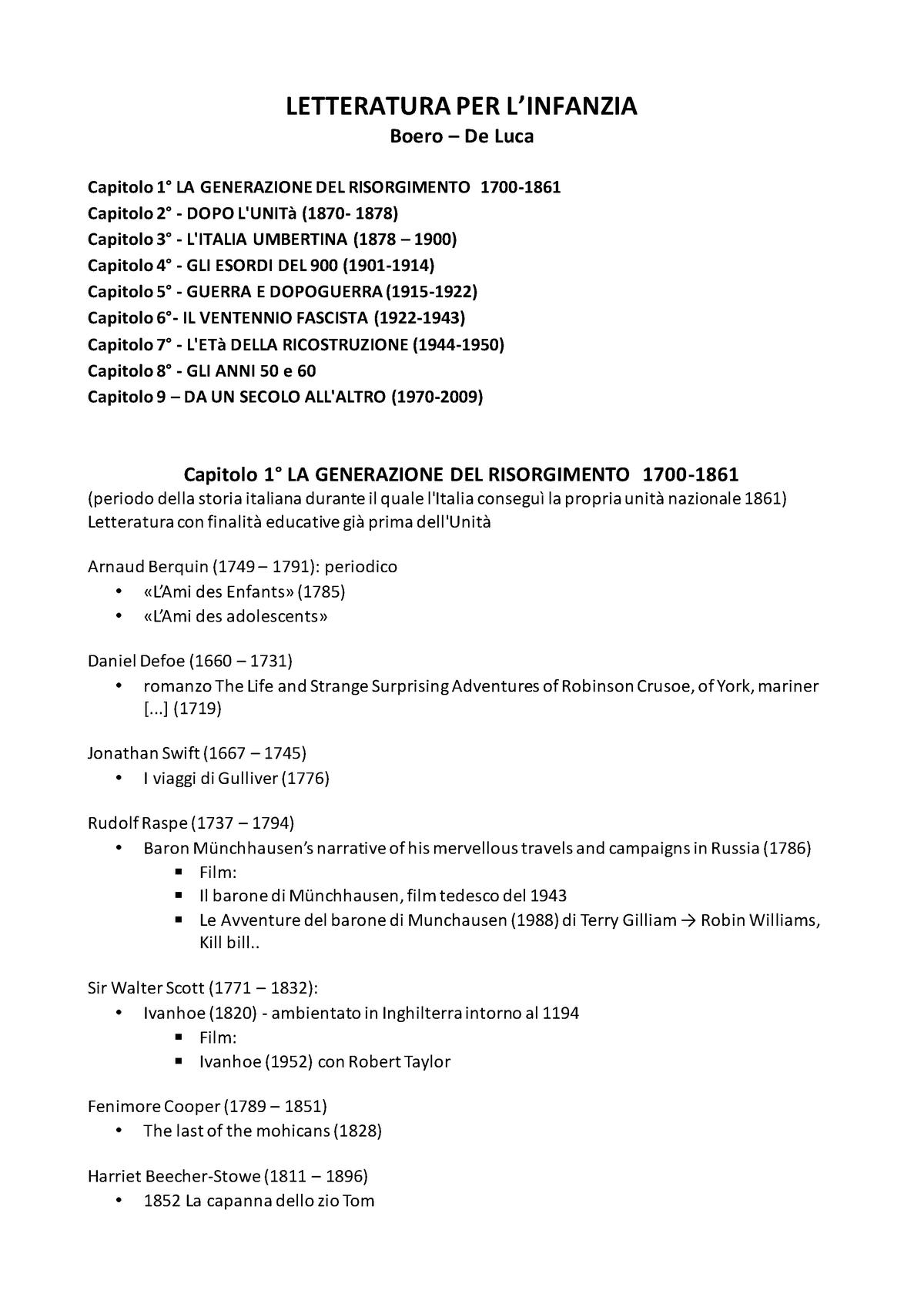 Schema Autori Opere Letteratura Per L Infanzia Boero De