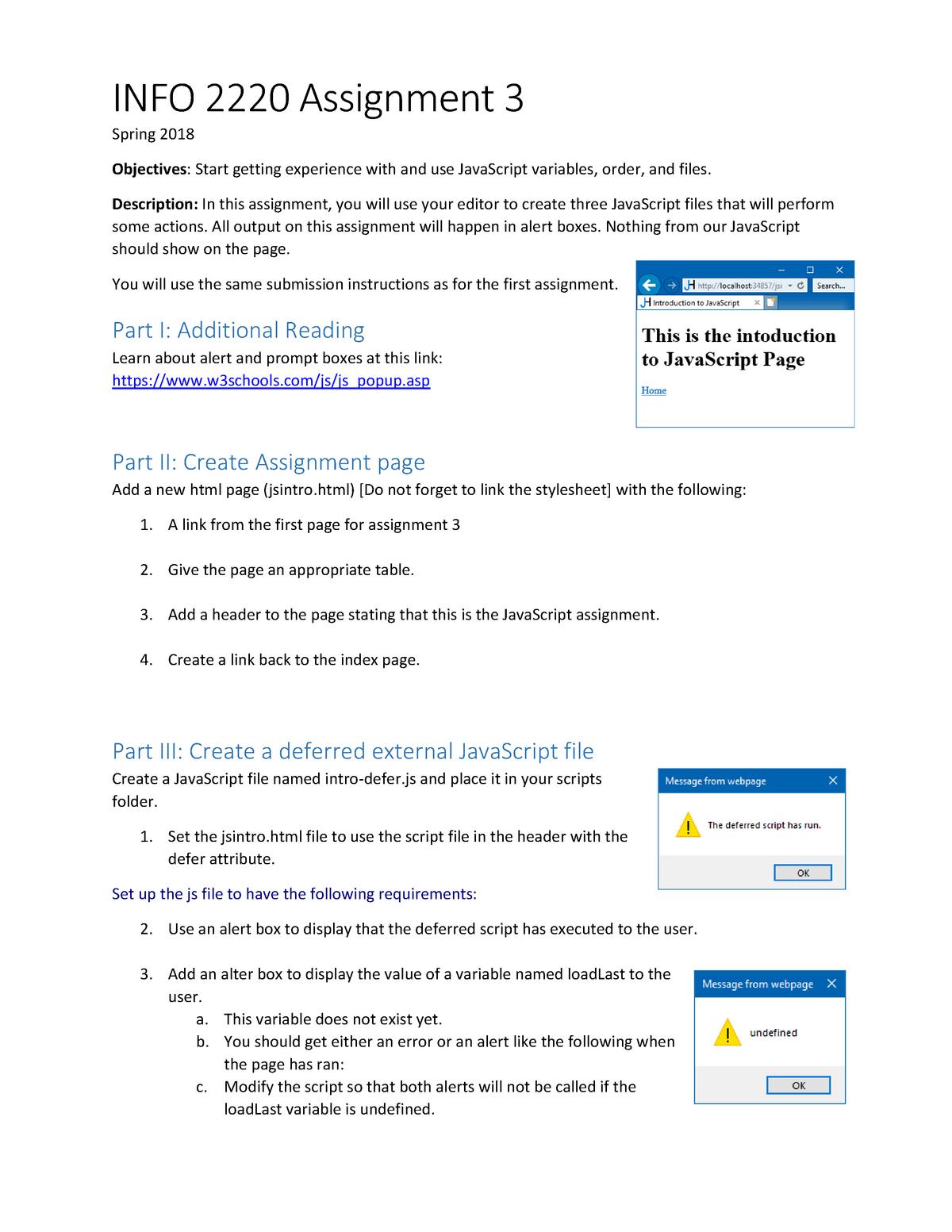 Assignment 3 - Lecture notes 3 - INFO 2220: Web Development:Client