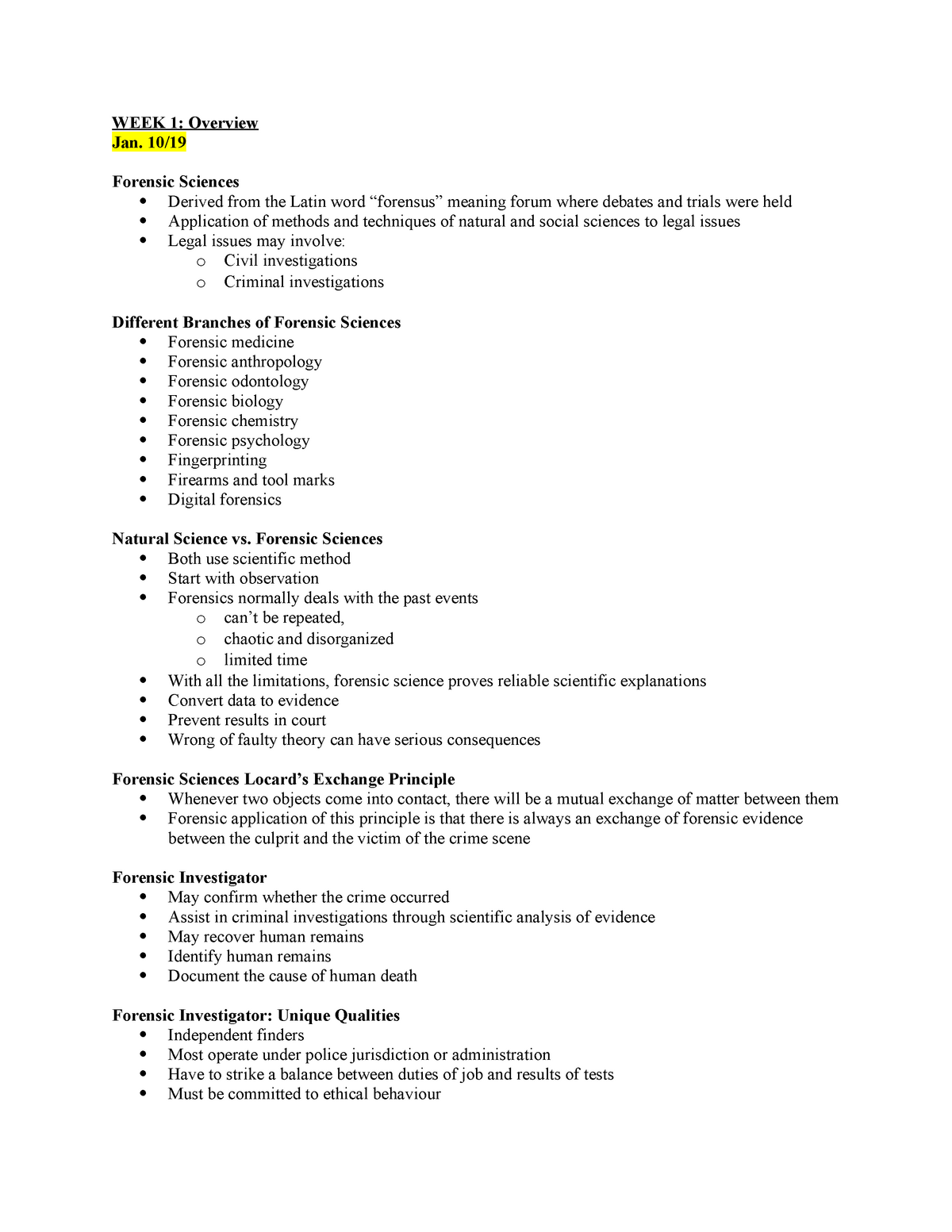 Week 1 Overview Of Forensic Sciences Intro To Fs Notes Studocu