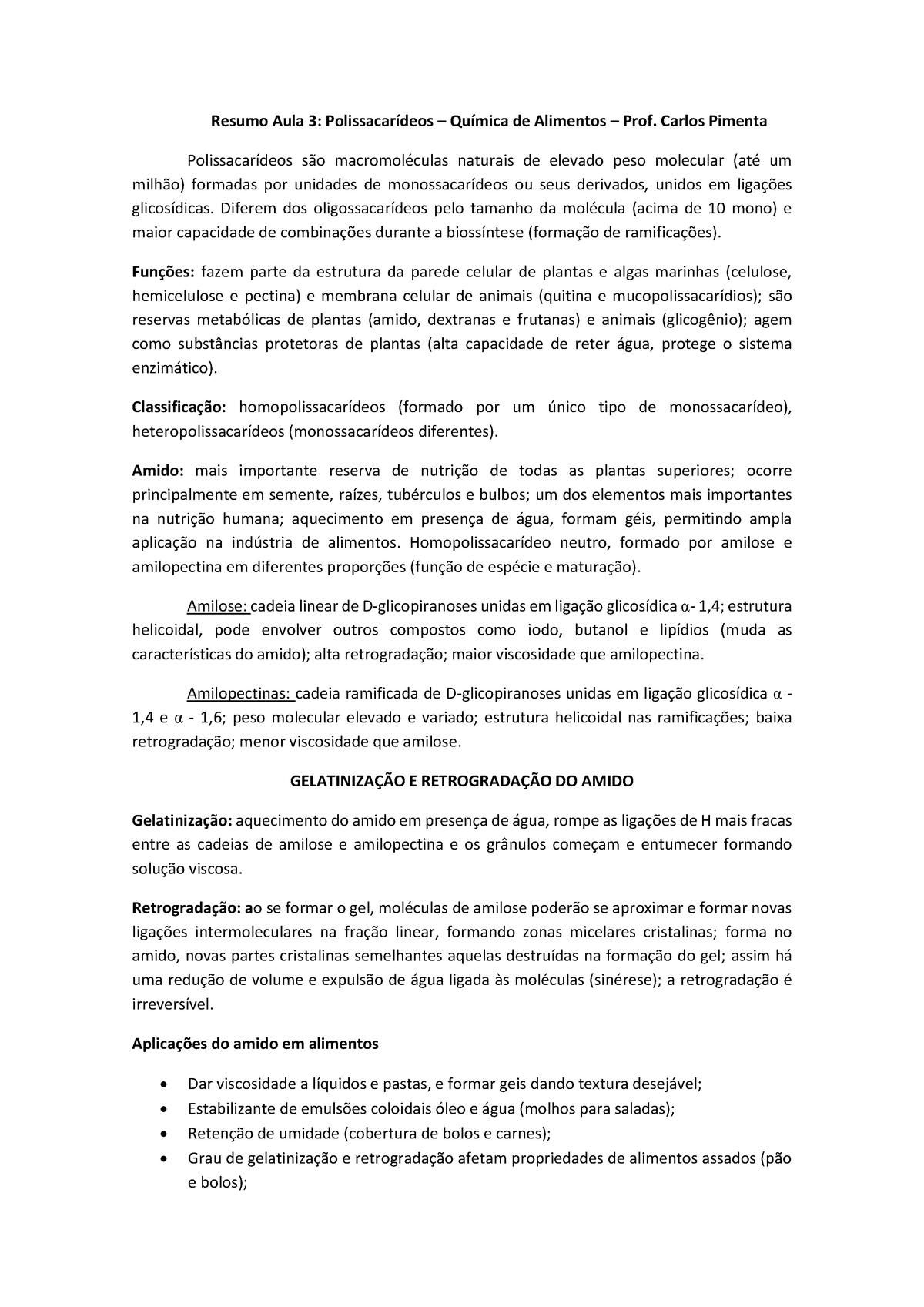 Resumo Aula 3 Polissacarídeos Química De Alimentos Pca521