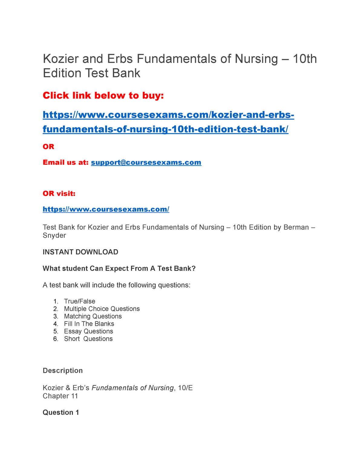 Kozier and Erbs Fundamentals of Nursing – 10th Edition Test