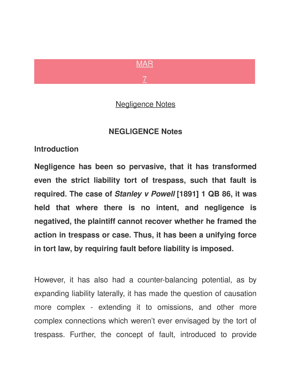 full notes on negligence under tort law - law - StuDocu