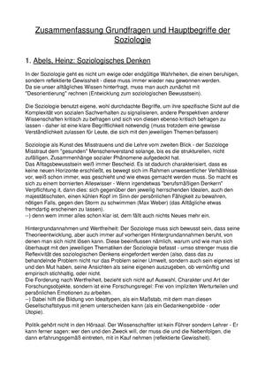 Zusammenfassung Texte Grundfragen Hauptbegriffe Soziologie Ws1718