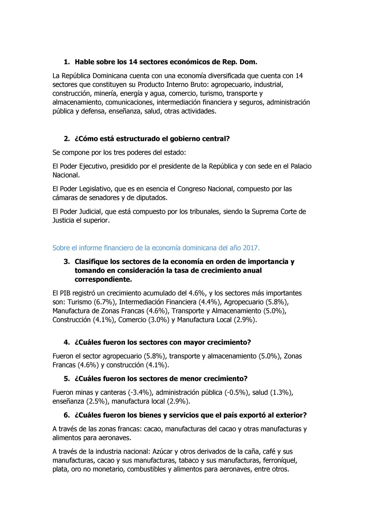 Sectores Económicos De La República Dominicana Hable Sobre Los 14 Sectores Econ Studocu
