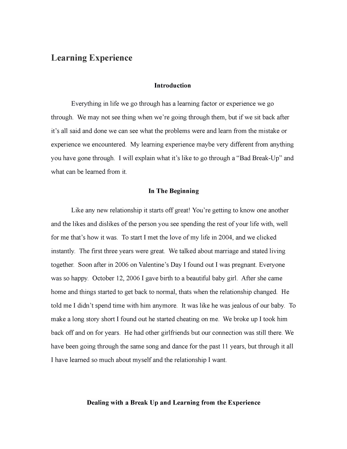 Learning experience paper - PSYC 6300 Stat for Psy - UH