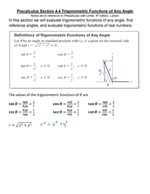 Precalculus Section 4 4 Trigonometric Functions of Any Angle