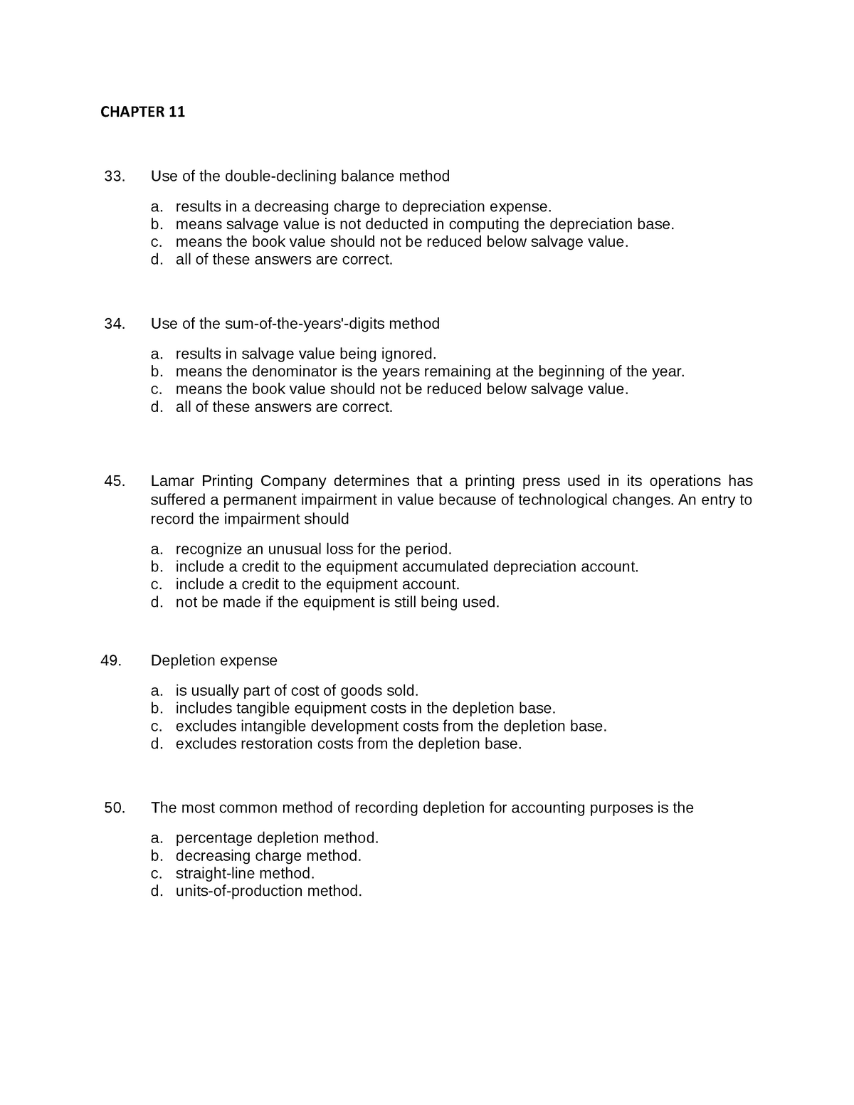 Chapter 11- Answer Key - sample exam CHAPTER 11 33 Use of ...