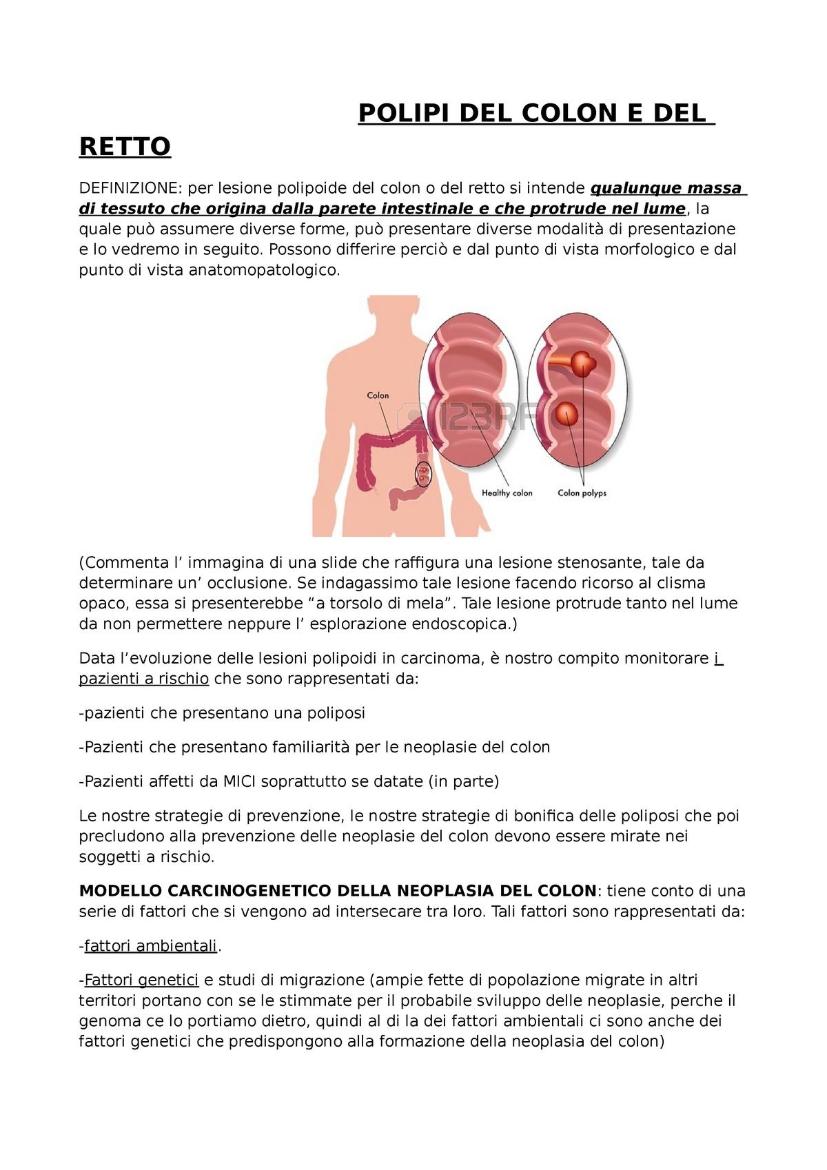 Polipi Colon E Retto 135157 Medicina Sociale Studocu