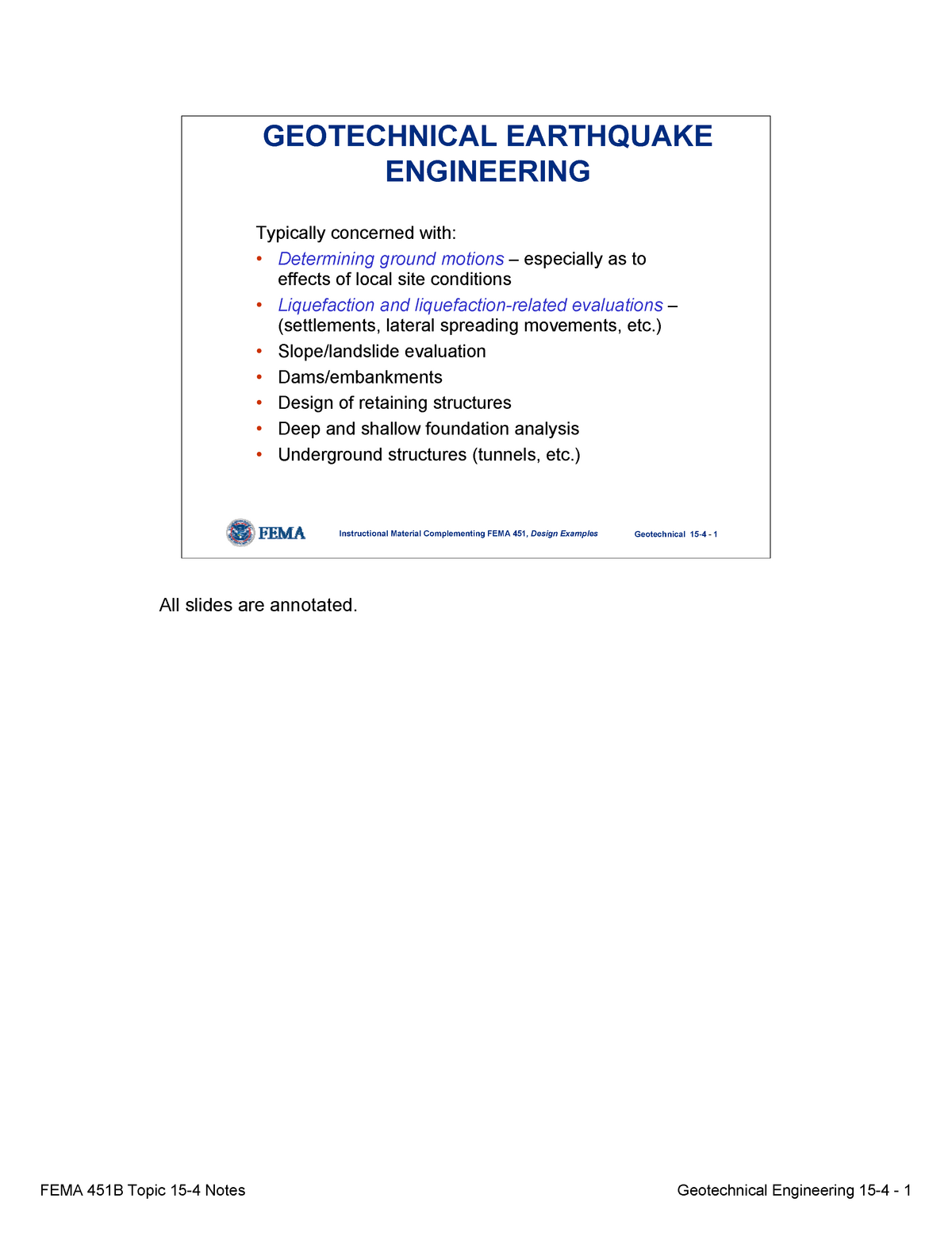 Topic 15 4 Geotechnical Earthquake Engineering Notes Uofm Studocu