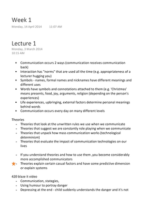 Cmn102 - Lecture notes 1-8 - CMN102: Communication Theory and
