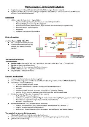 Vorlesung 16.06. - Pharmakologie des kardiovaskulären Systems ...