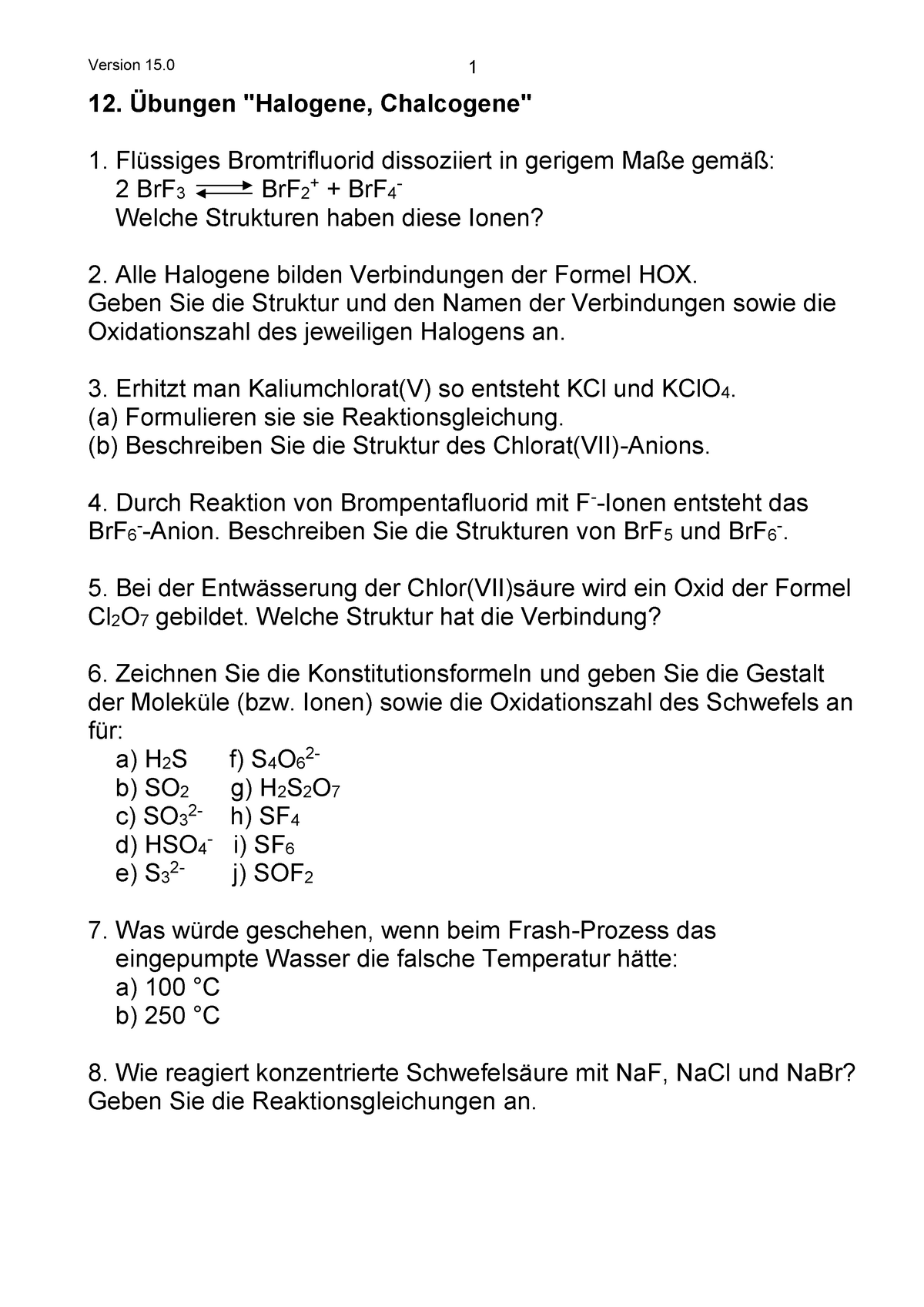 Praktisch 12 übungen Halogene Chalcogene Ac1 Lmu