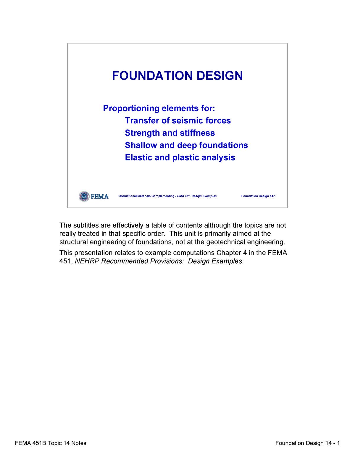 Topic 14 Foundation Design Notes Civl 8119 Uofm Studocu