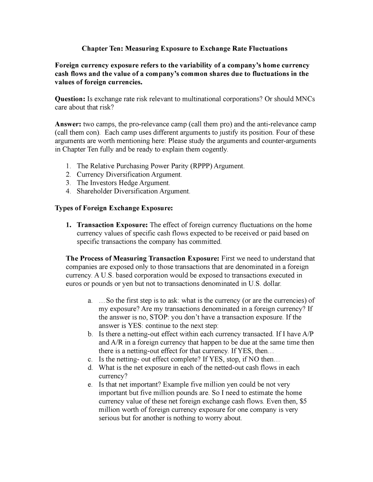 Chapter Ten Summary Measuring Exposure to Exchange Rate