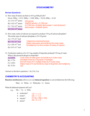 CHEM 1040 General Chemistry I - U of G - StuDocu