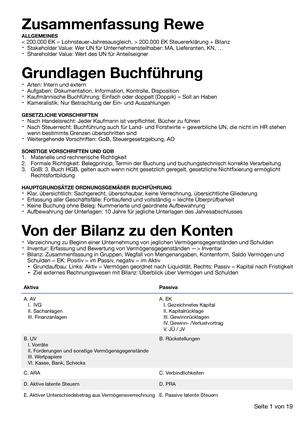 Rewe Zusammenfassung - Internes & Externes Rechnungswesen