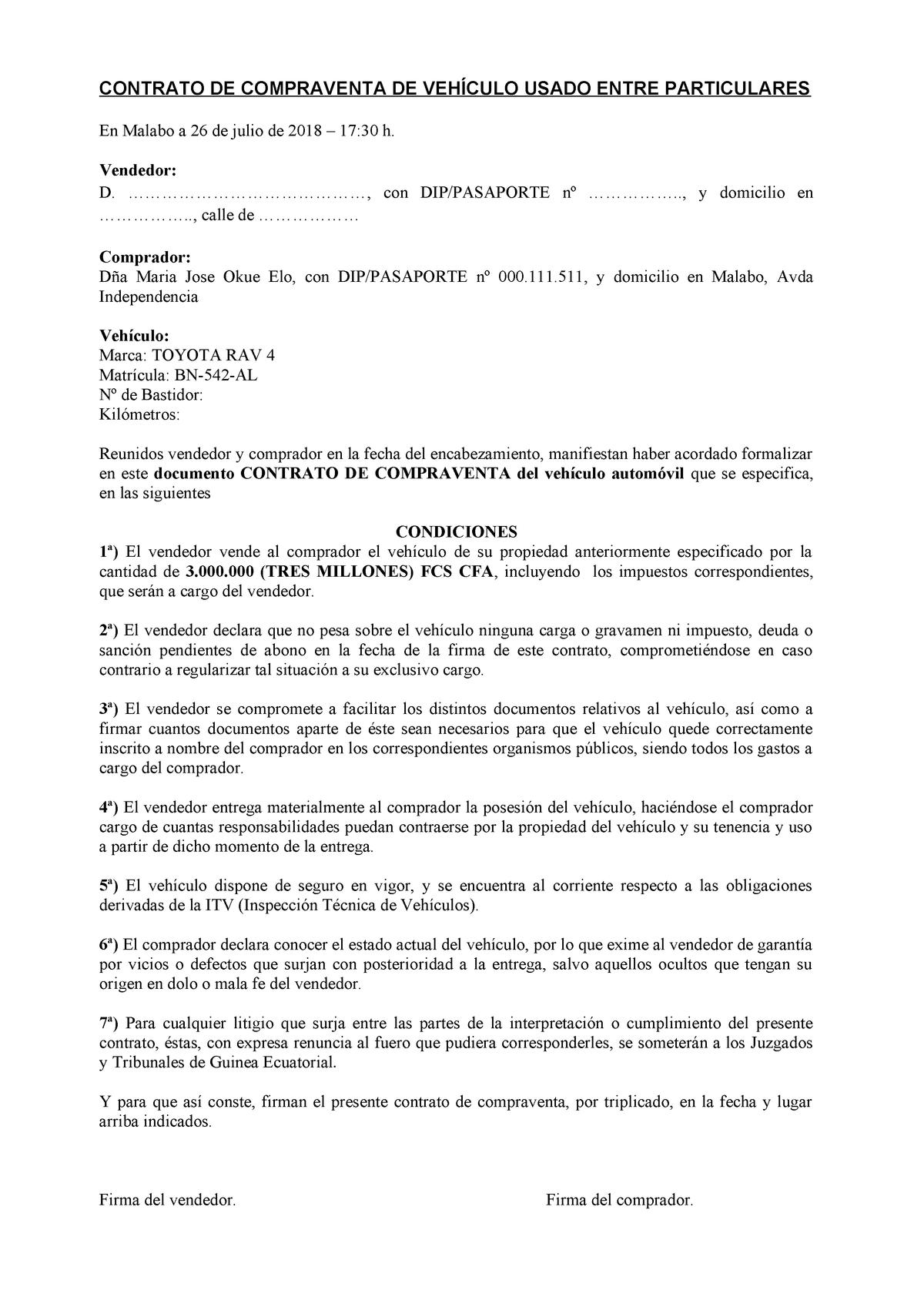 Contrato De Compraventa Coche Studocu