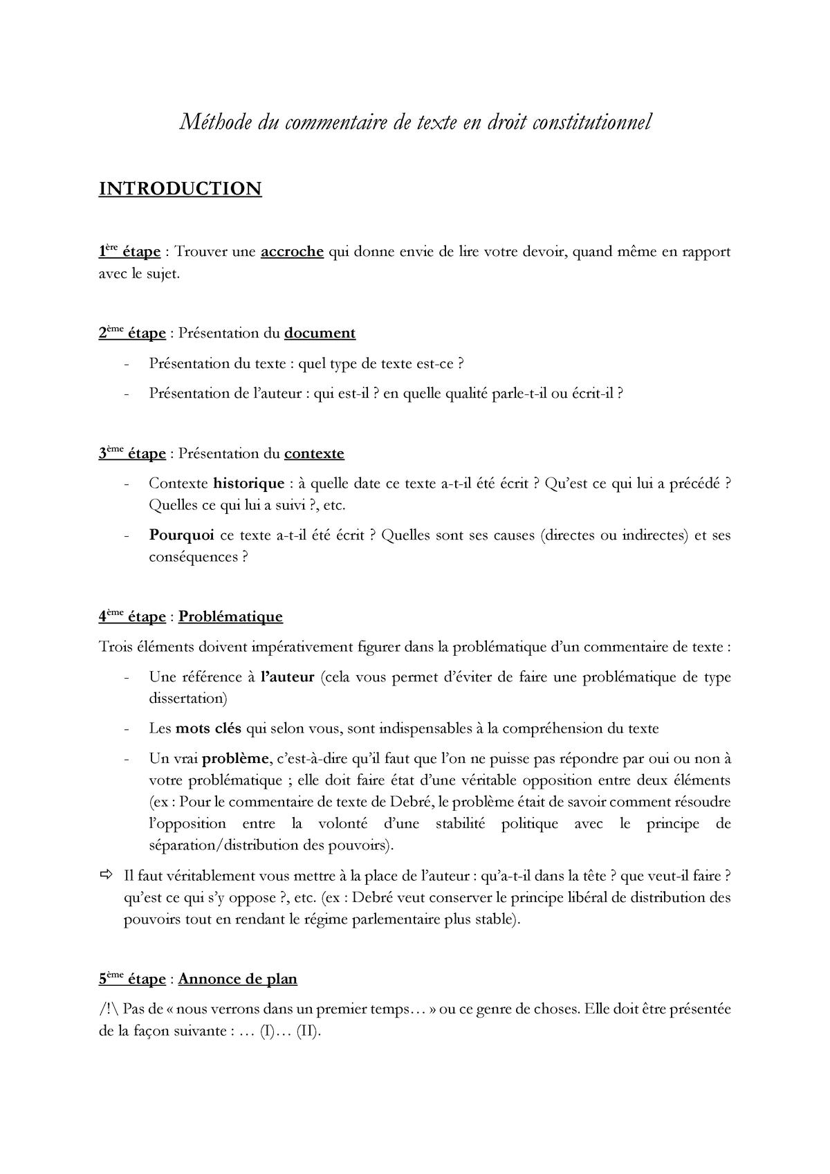 Méthodologie Droit Constitutionnel Commentaire De Texte ...