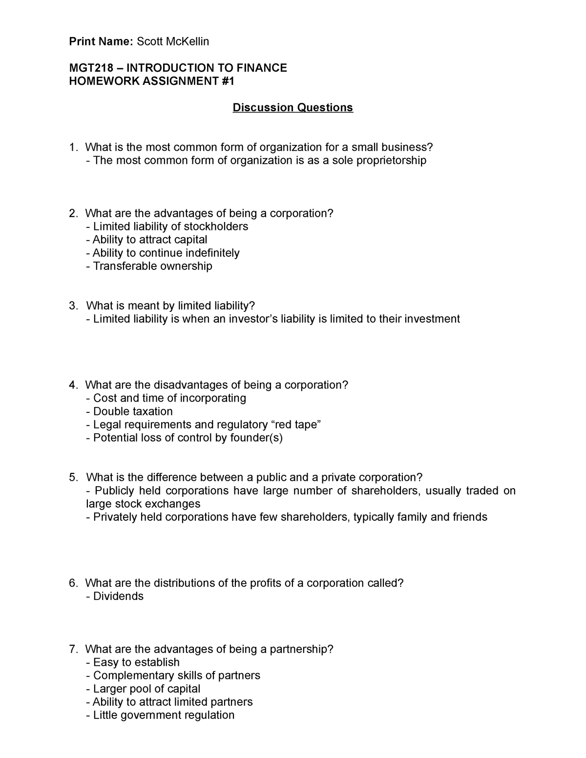 MGT218 - Assignment 01 - Discussion Questions - MGT 218