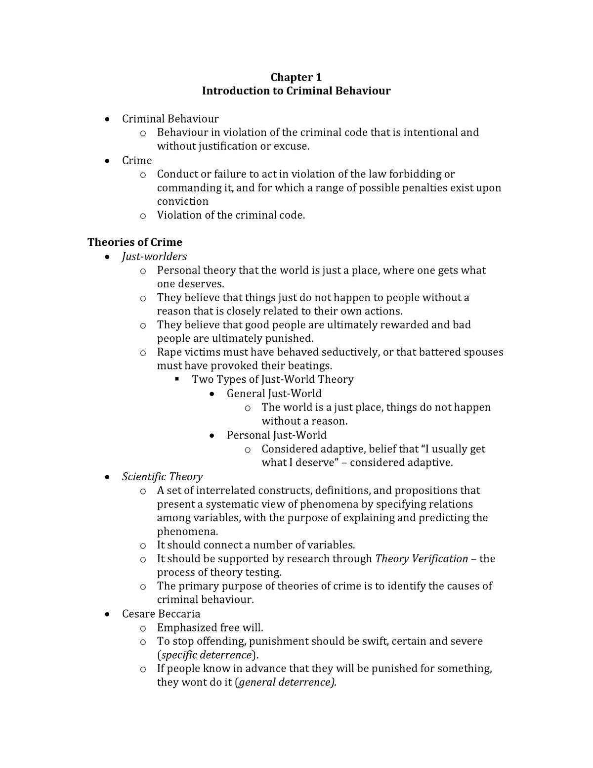 Summary Criminal Behavior: A Psychological Approach