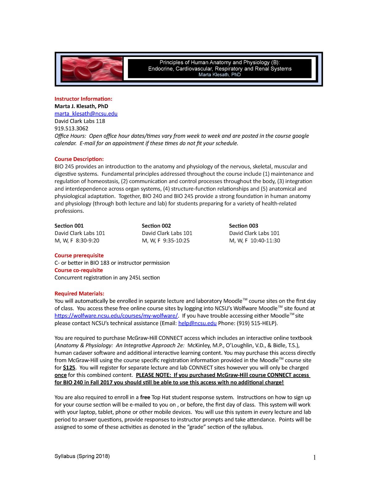 Ncsu Academic Calendar.Bio 245 Human Ap Spring 2018 Bio 245 Principles Of Human