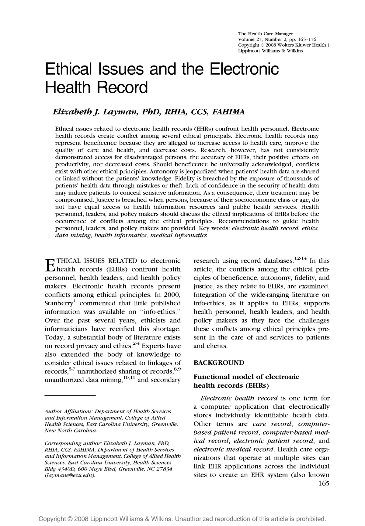 Ethical Issues and the Electronic Health Record - - StuDocu