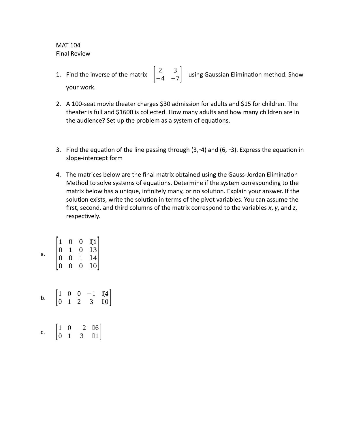 MAT 104 Final Review - MAT 104 Finite Mathematics - StuDocu