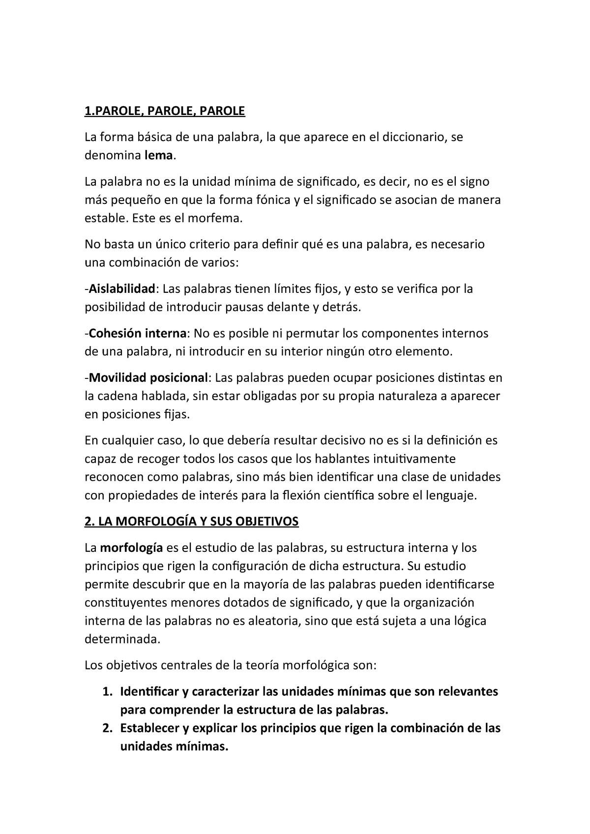 Tema 4 La Estructura De Las Palabras Morfología 64901019