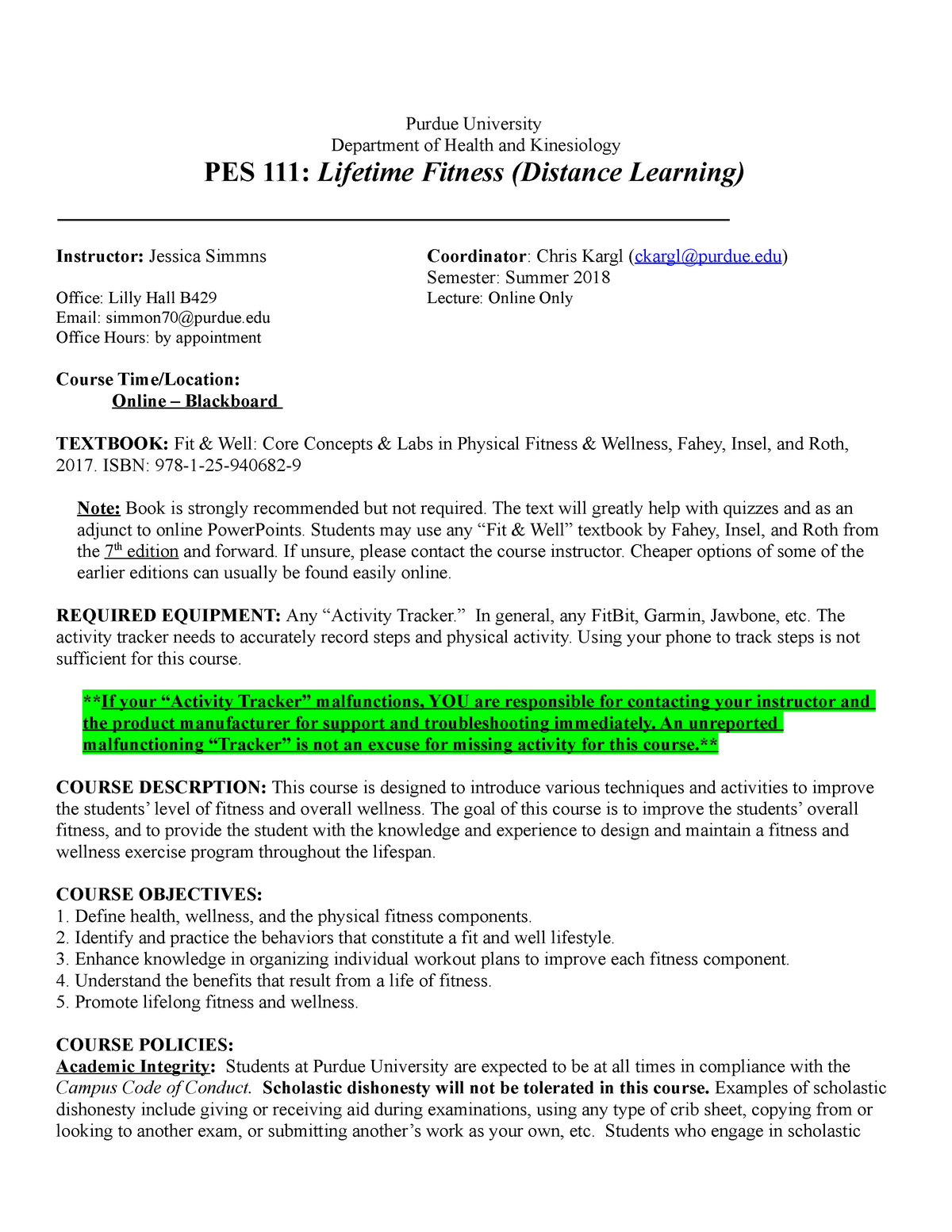 PES 111 Online Syllabus Summer 2018 updated - PES 11100
