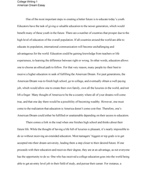 American dream essay education writ 105 college writing i studocu