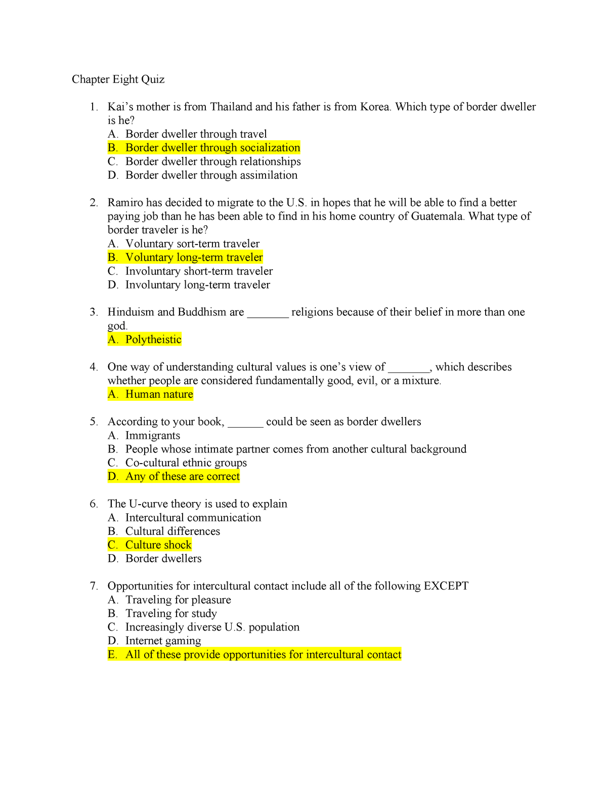 Chapter Eight Quiz - Futrell - COMM 201: Intro To Communication