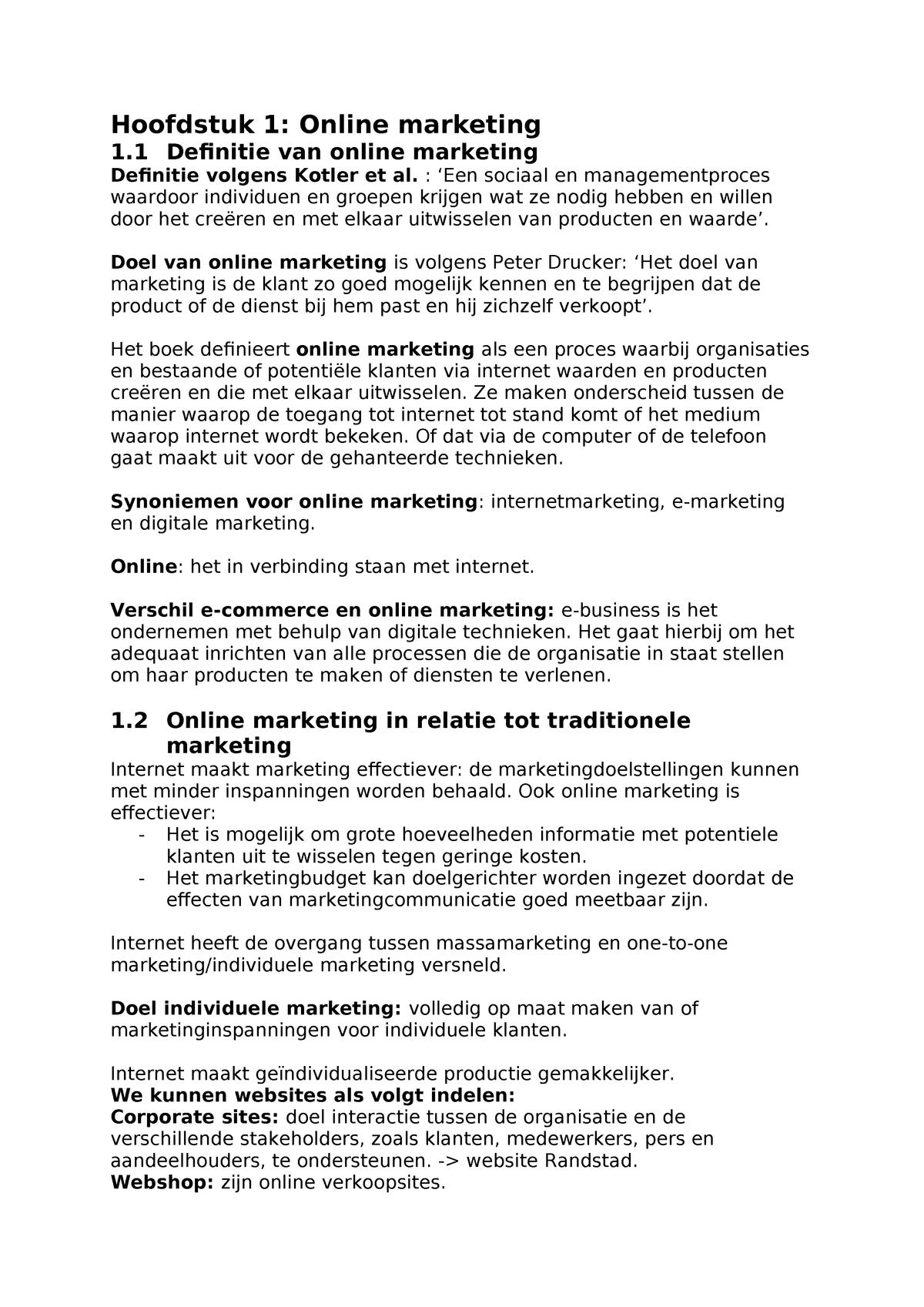 Samenvatting Online Com Studeersnelnl