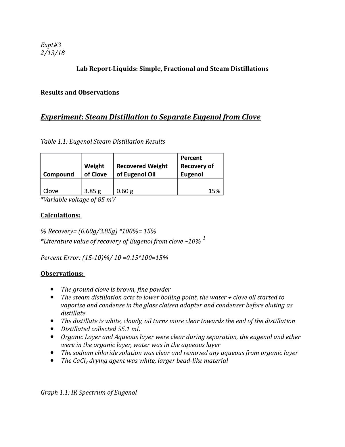 Lab Report 3-Simple, Fractional, Steam Distillation Lab - CHEM 244