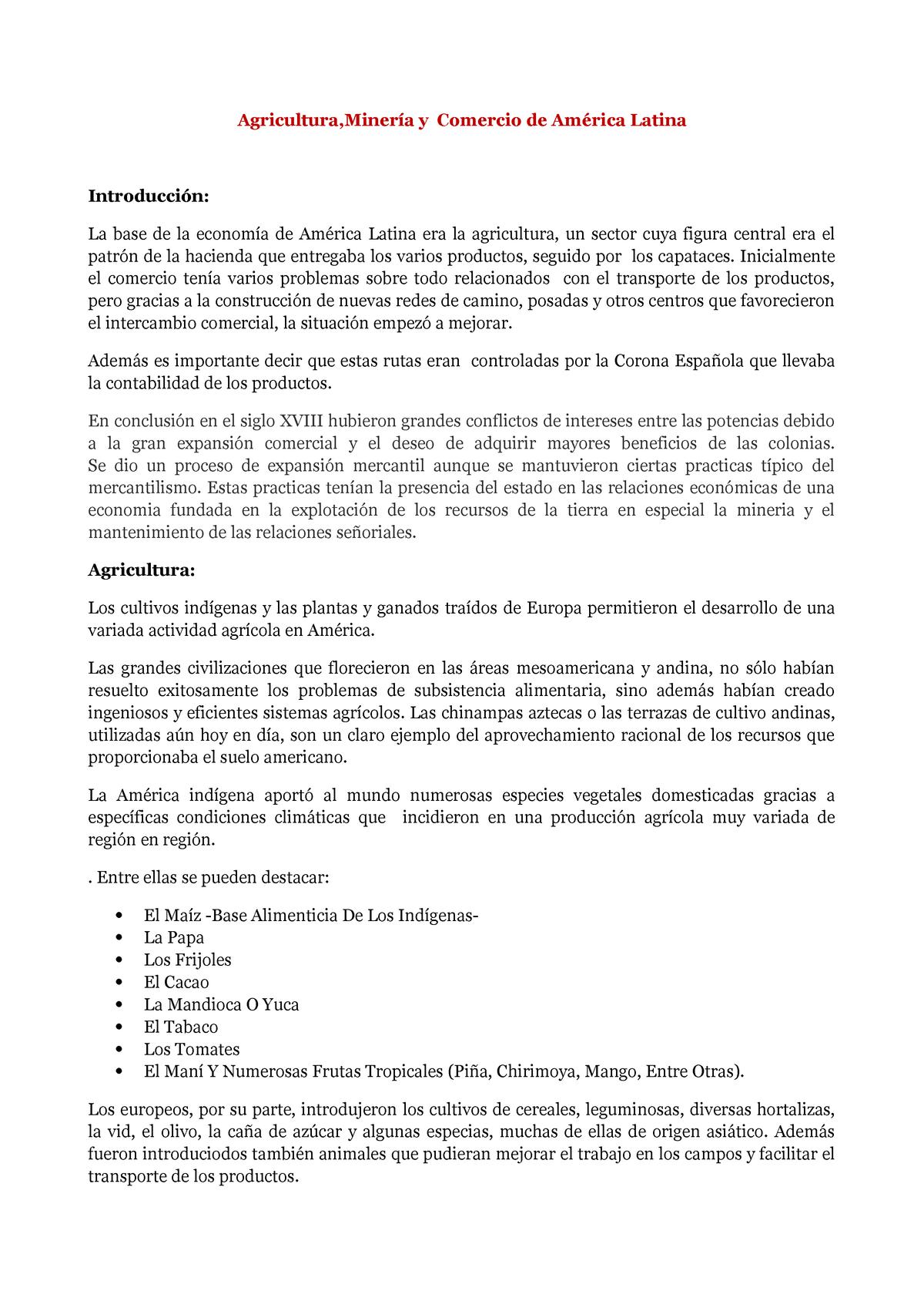 Agricultura Minería Y Comercio De América Latina