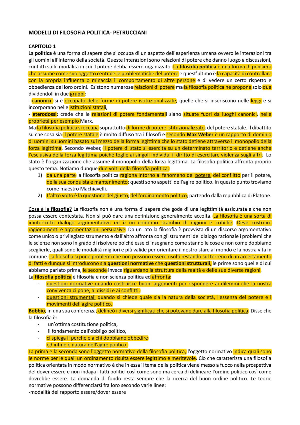 Riassunto Petrucciani - Filosofia politica 1017463 - StuDocu