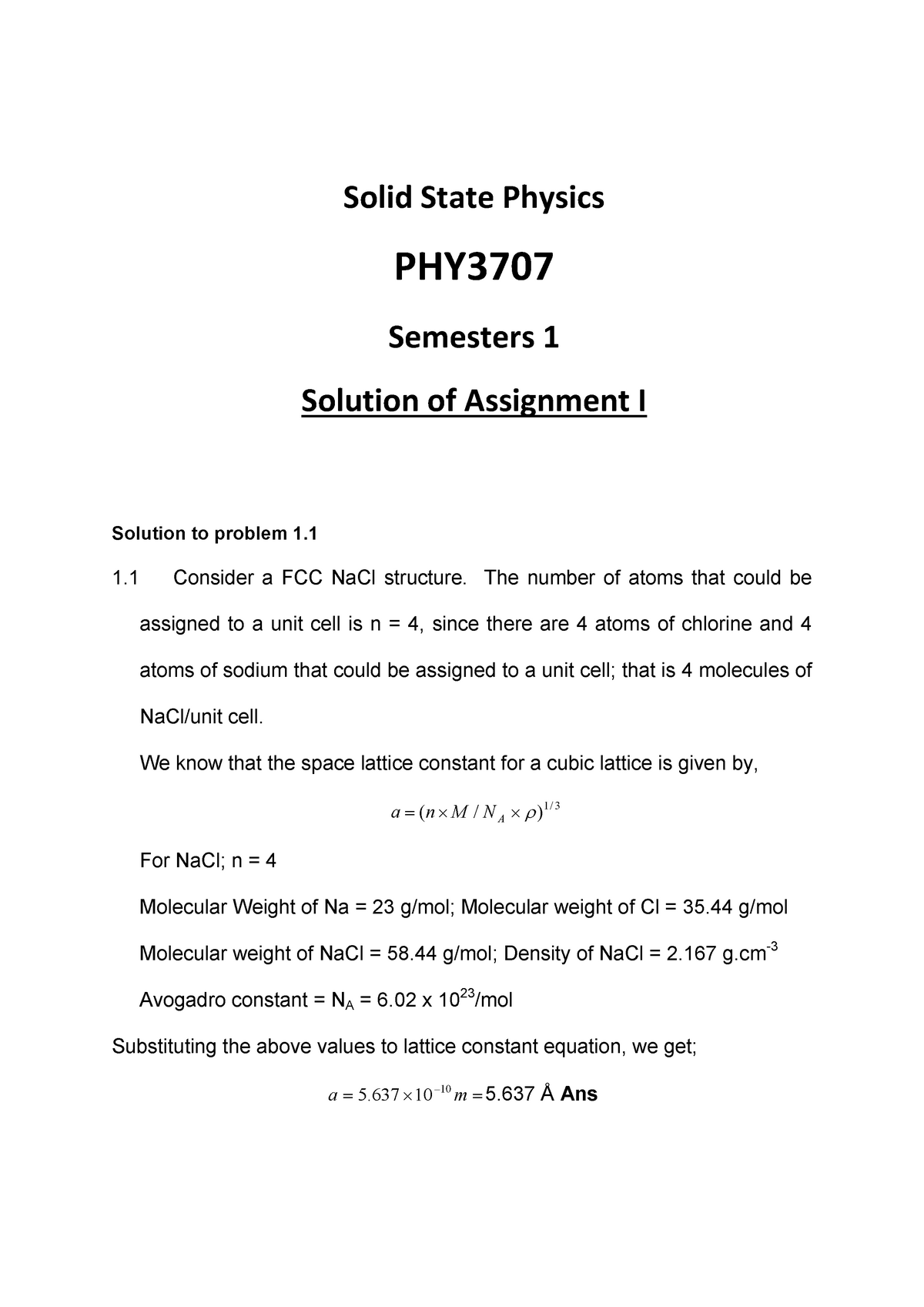 SEM+I+-+Solution+686390+ Assignment+I - Solid State Physics