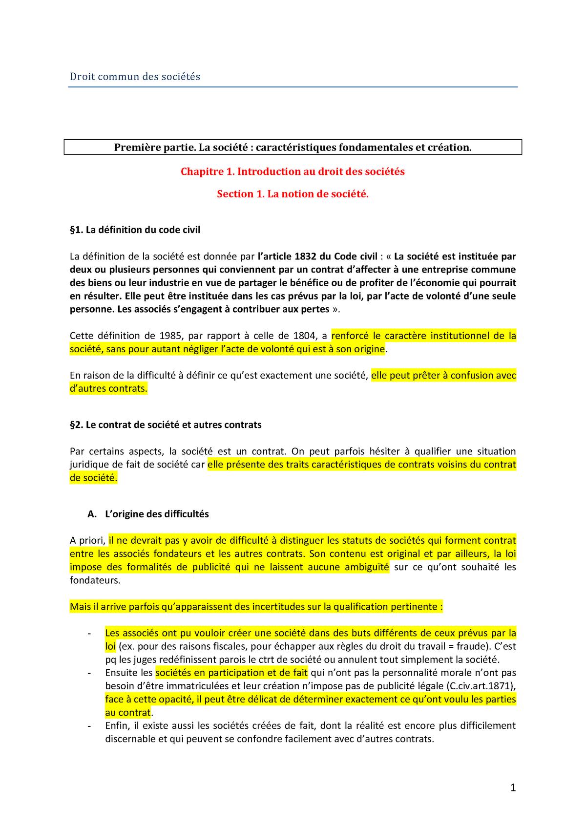 Droit Commun Des Societes Unistra Studocu