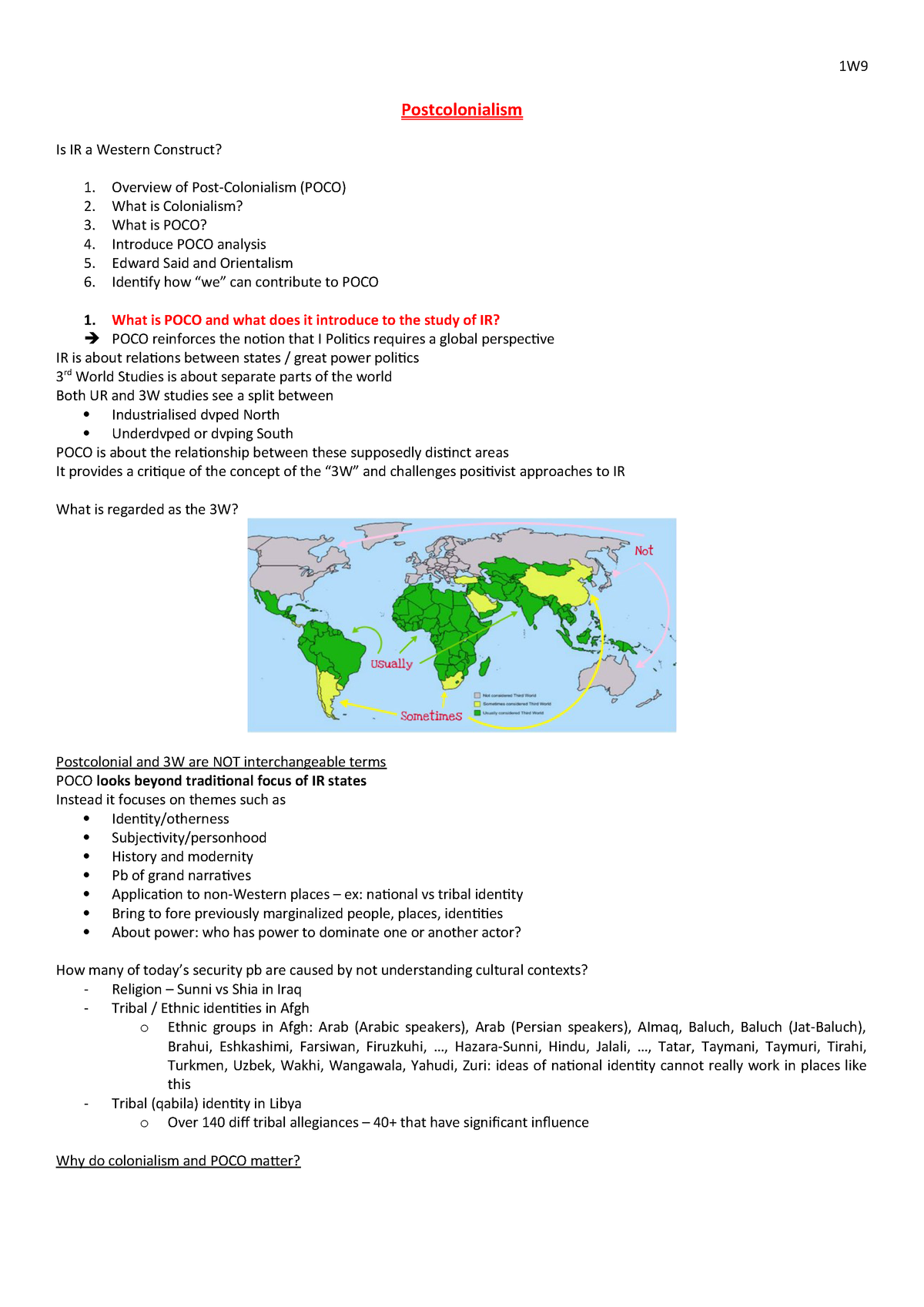 7  Postcolonialism - Very detailed summary  Notes taken from