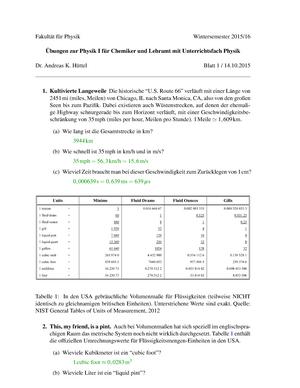 Übungen - Lösung Blatt 1 - 13 ohne 9 - 52750: Physik I für Chemiker ...