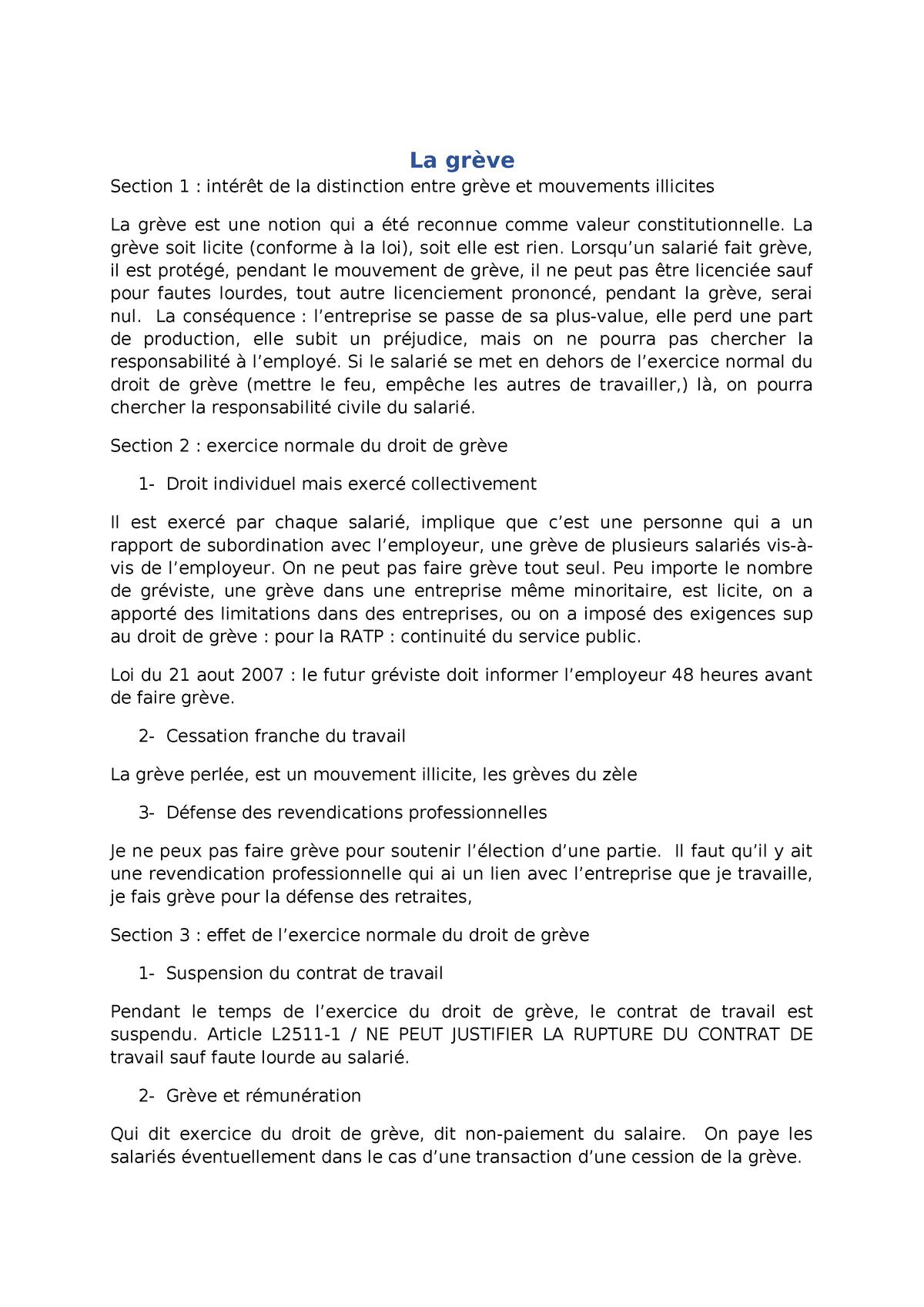 La Greve Notes De Cours Icp Studocu