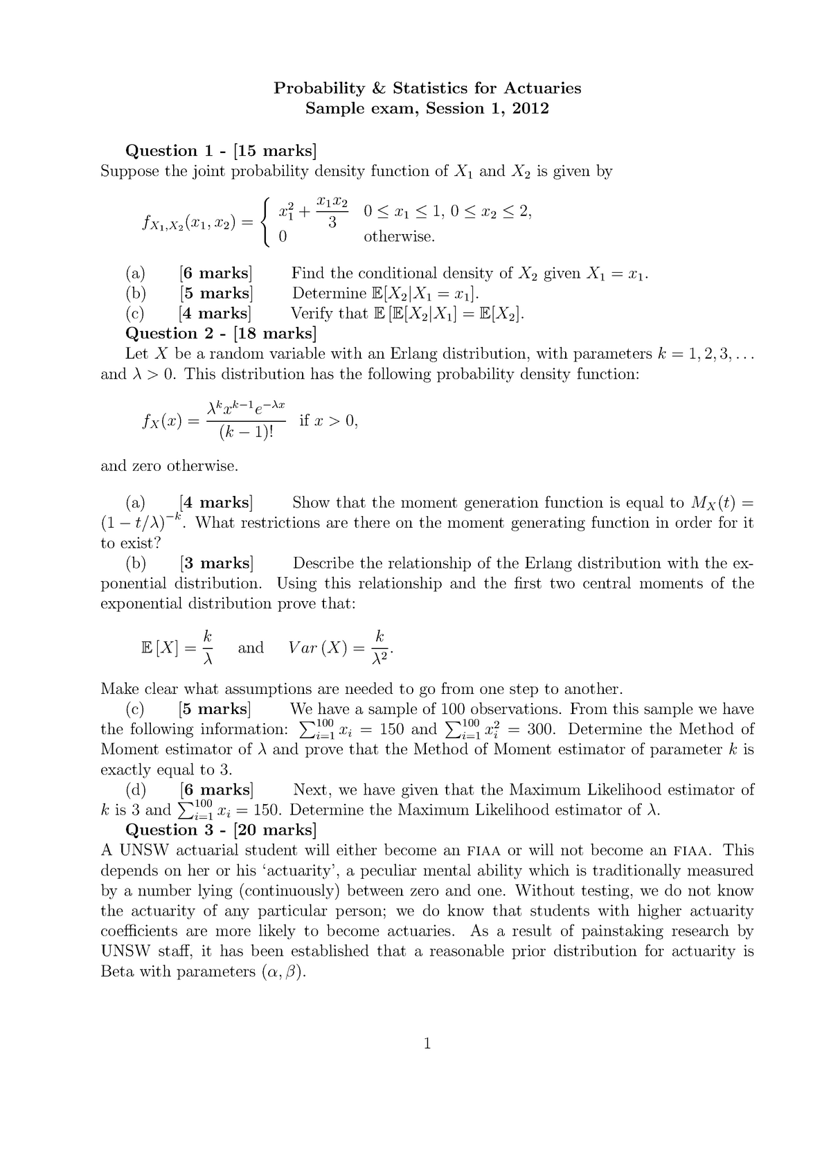 2012 S1 Sample - ACTL2131: Probability and Mathematical