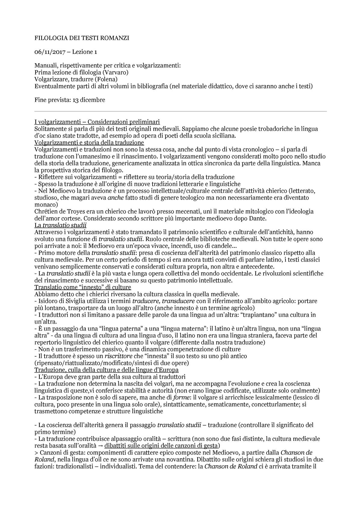 Filologia DEI Testi Romanzi - LIN0063 - UniTo - StuDocu