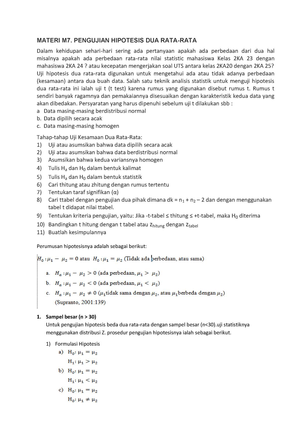 Materi M7 Pengujian Hipotesis Dua Rata Rata Uji Z Dan Uji T Warning Tt Undefined Function 32 Warning Tt Undefined Function 32 Materi M7 Pengujian Hipotesis Studocu