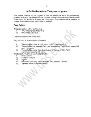 Syllabus MSc Mathematics UoS Private - SYL - StuDocu